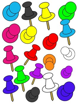 PUSH PINS CLIPART * COLOR AND BLACK AND WHITE.