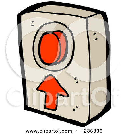 Clipart of a Red Push Button and Arrow.