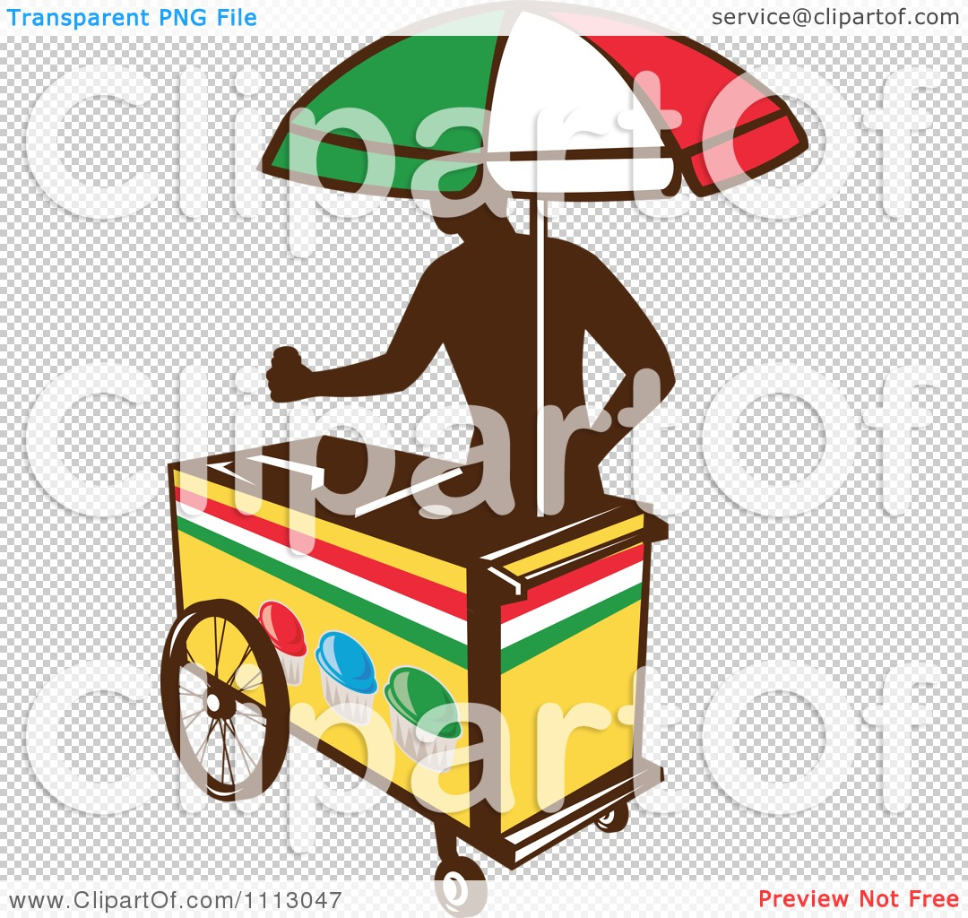 Clipart Silhouetted Ice Push Cart Vendor With An Italian Umbrella.