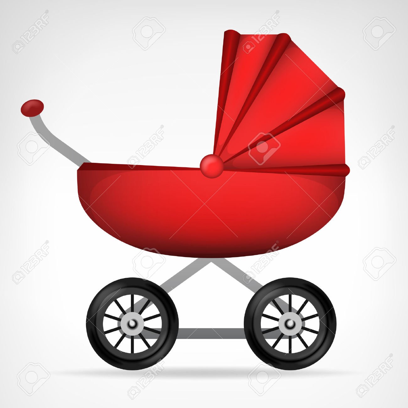 Girly Red Stroller Object On White Vector Illustration Royalty.
