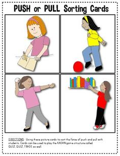 Here's a set of 33 picture cards for sorting into push and pull.