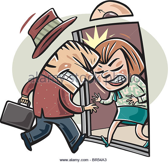 Clipart images of bumping into people.