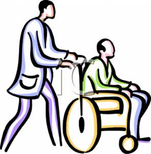 Pushing wheelchair clipart image #38469.