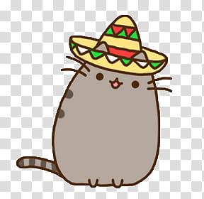 Pusheen the cat, gray cat emogi transparent background PNG.