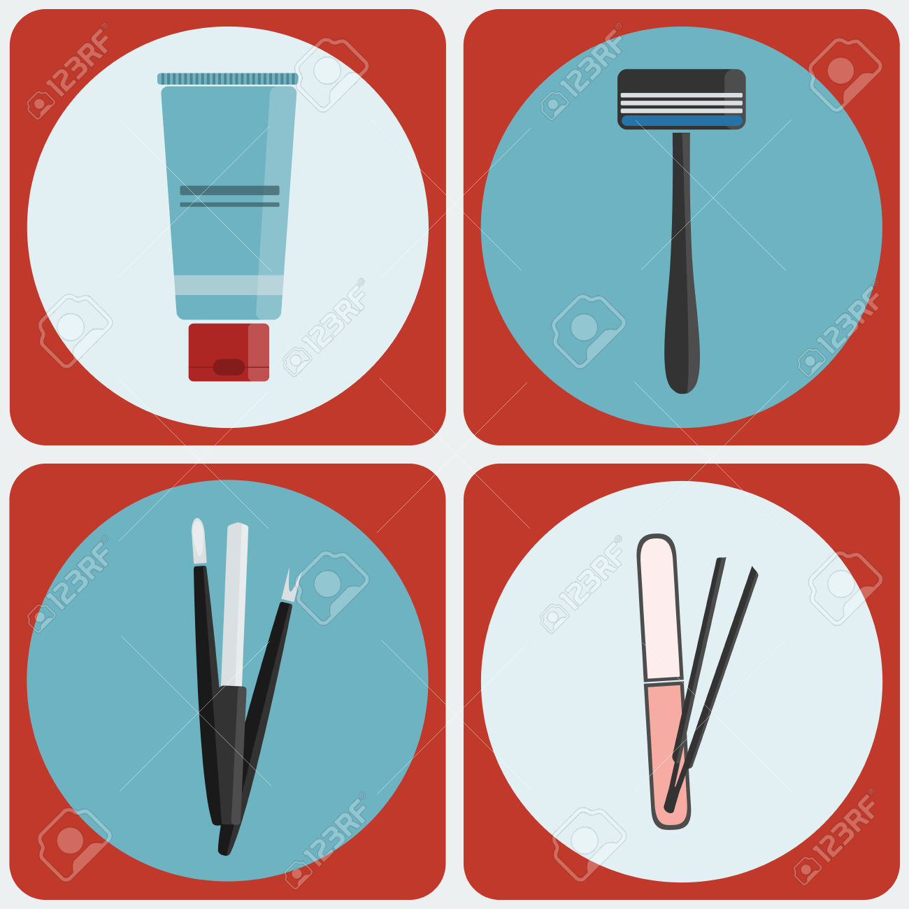 Beauty Tools Icon Set. Shaving Cream, Razor. Manicure Kit, Nail.