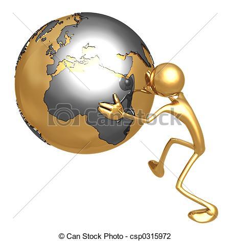Clip Art of Globe Pusher.