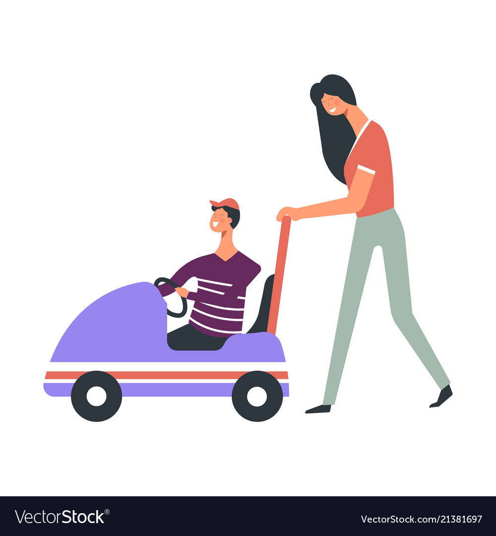 Modern young mother pushes toy car with son in cap vector image.