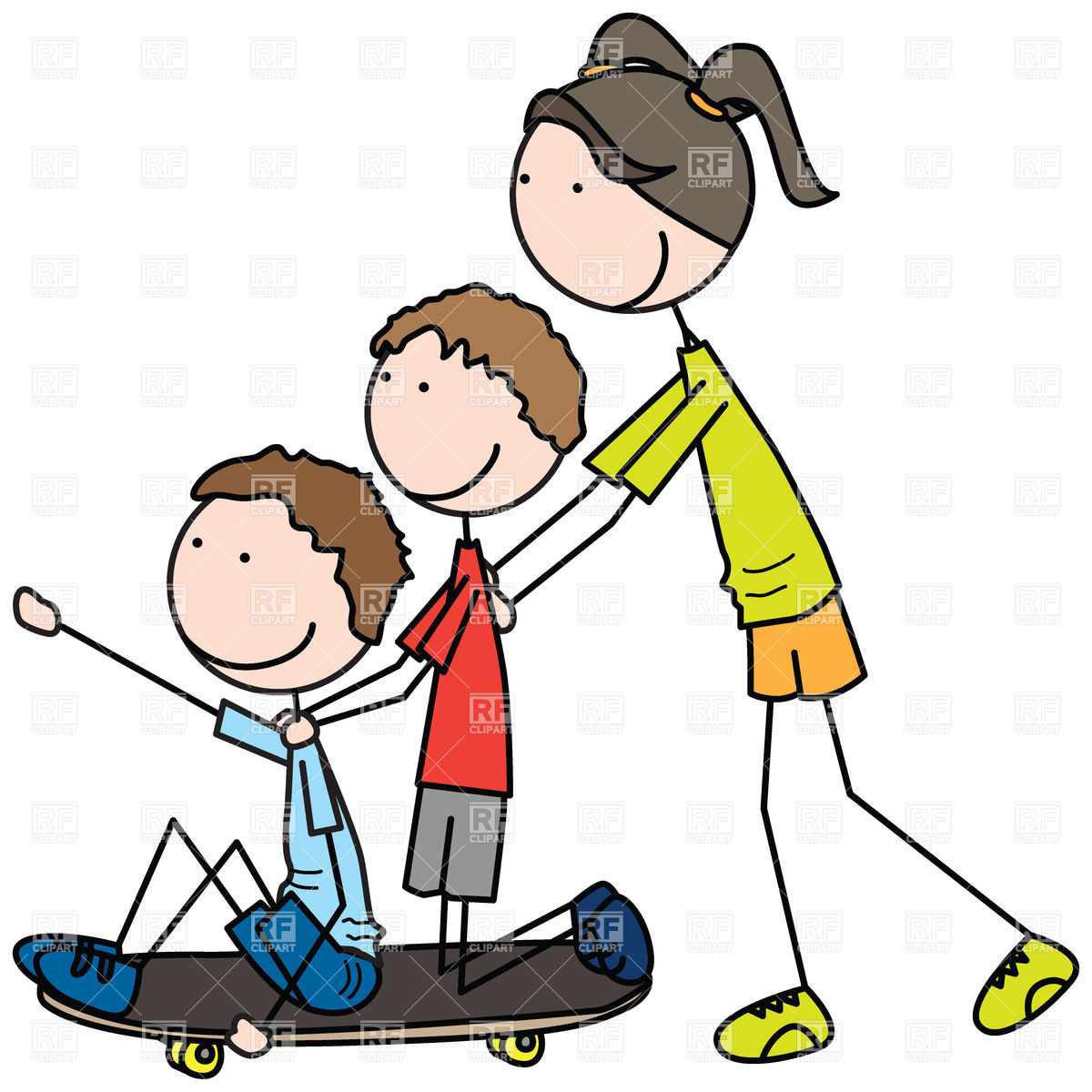 Boy Pushing Object Clipart.