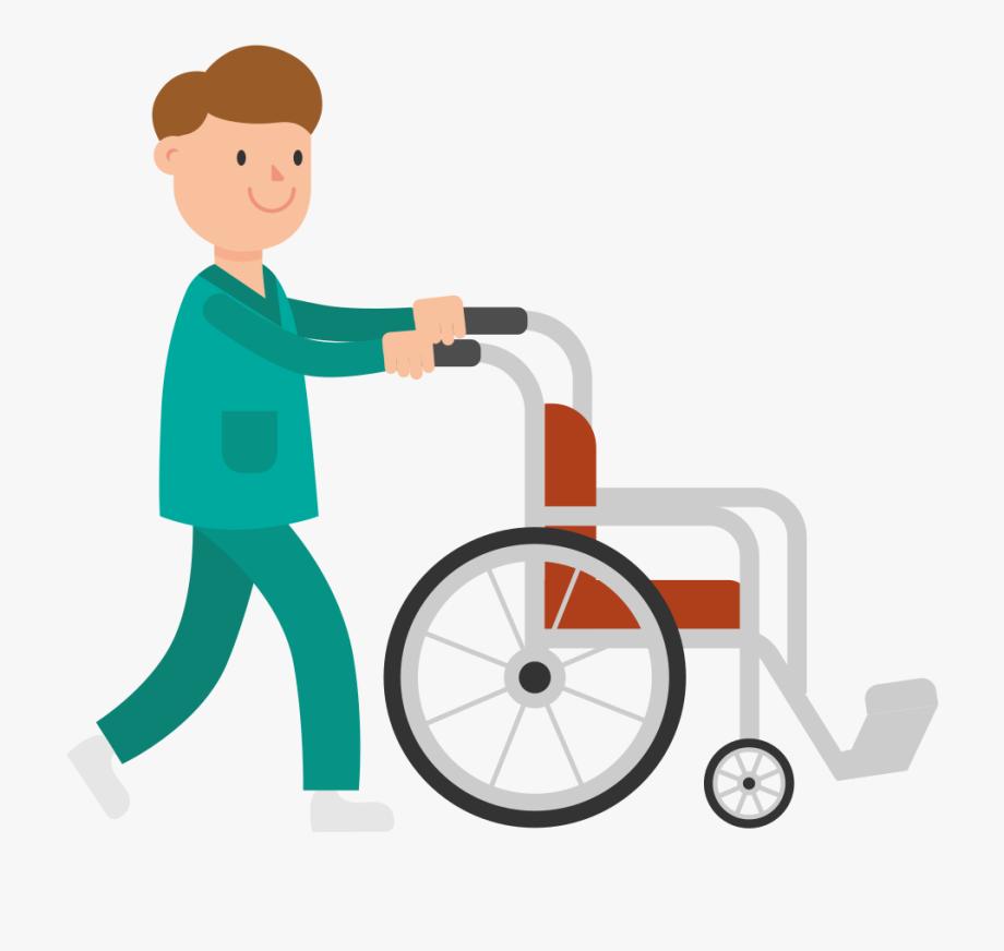 Pushing Empty Wheelchair Cartoon , Transparent Cartoon, Free.
