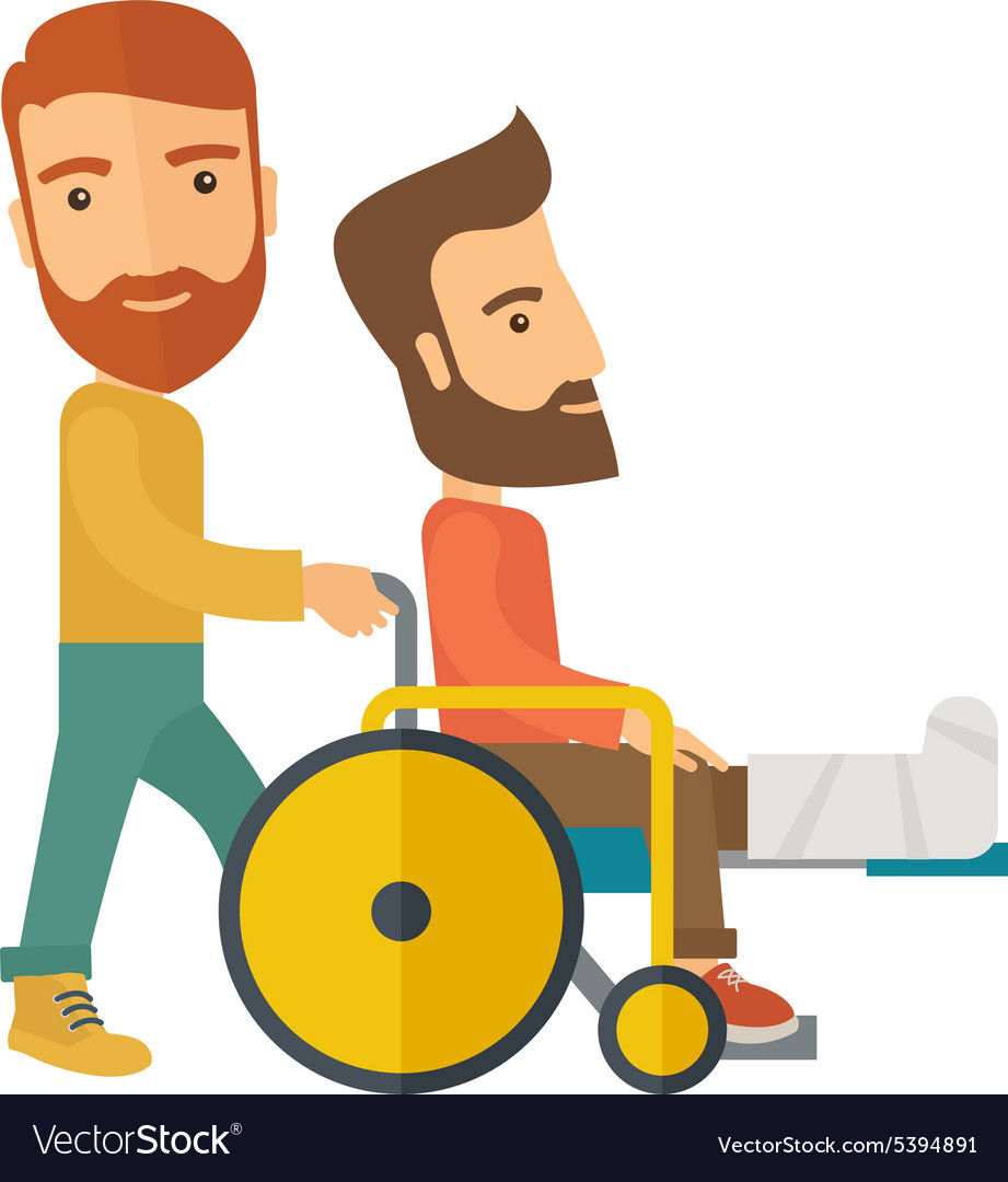 Man pushing the wheelchair with broken leg patient.