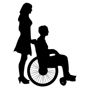 Woman Pushing Man In Wheelchair Silhouette clipart, cliparts.