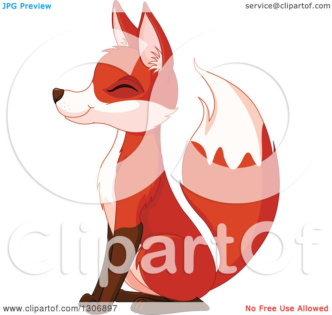 Clipart of a Cute Happy Sitting Fox Smiling with Its Eyes Closed.