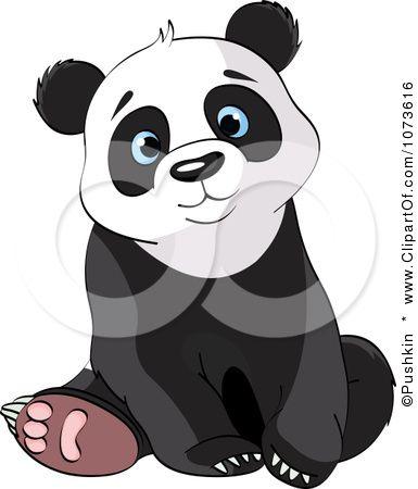Clipart Cute Sad Panda Bear Sitting.