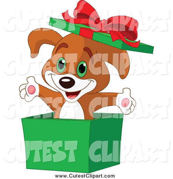 Vector Clip Art of a Surprise Christmas Puppy Popping out of a.