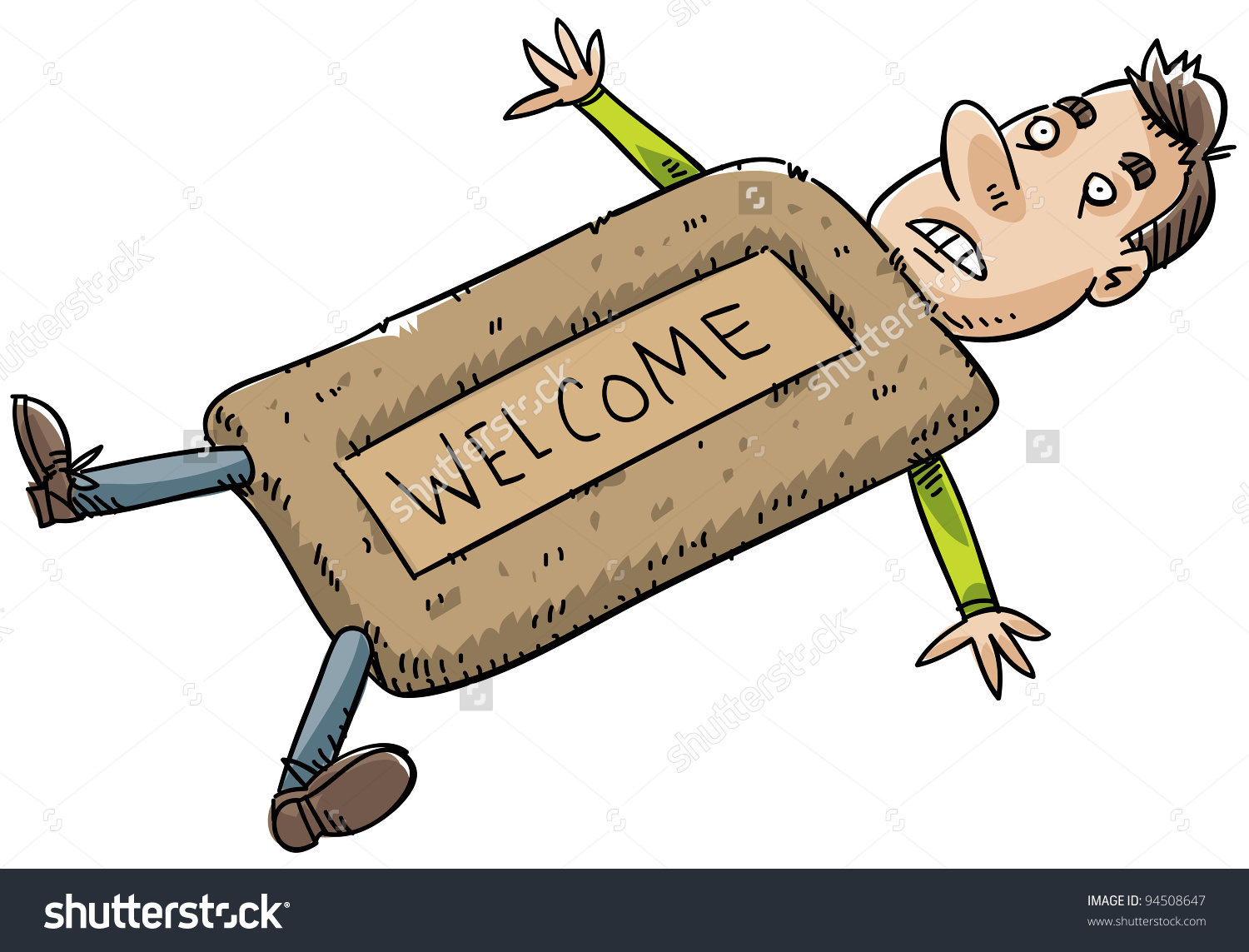 Submissive Cartoon Man Doormat Stock Illustration 94508647.