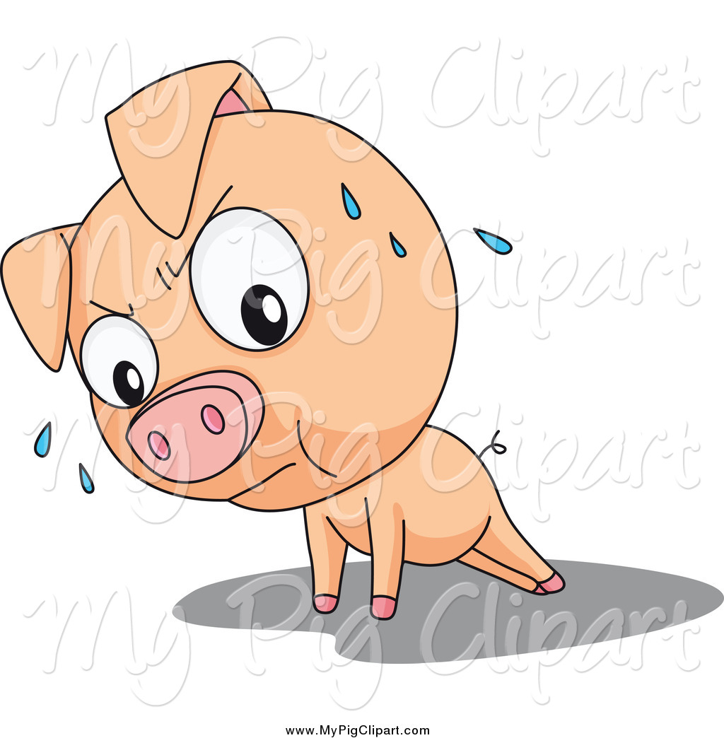Swine Clipart of a Cute Pig Doing Push Ups by colematt.