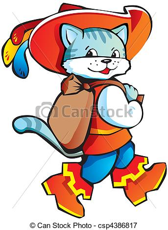 Clipart Vector of Puss in Boots.