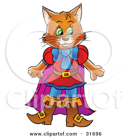 Clipart Illustration of Puss In Boots, The Cat, Standing By A Hare.