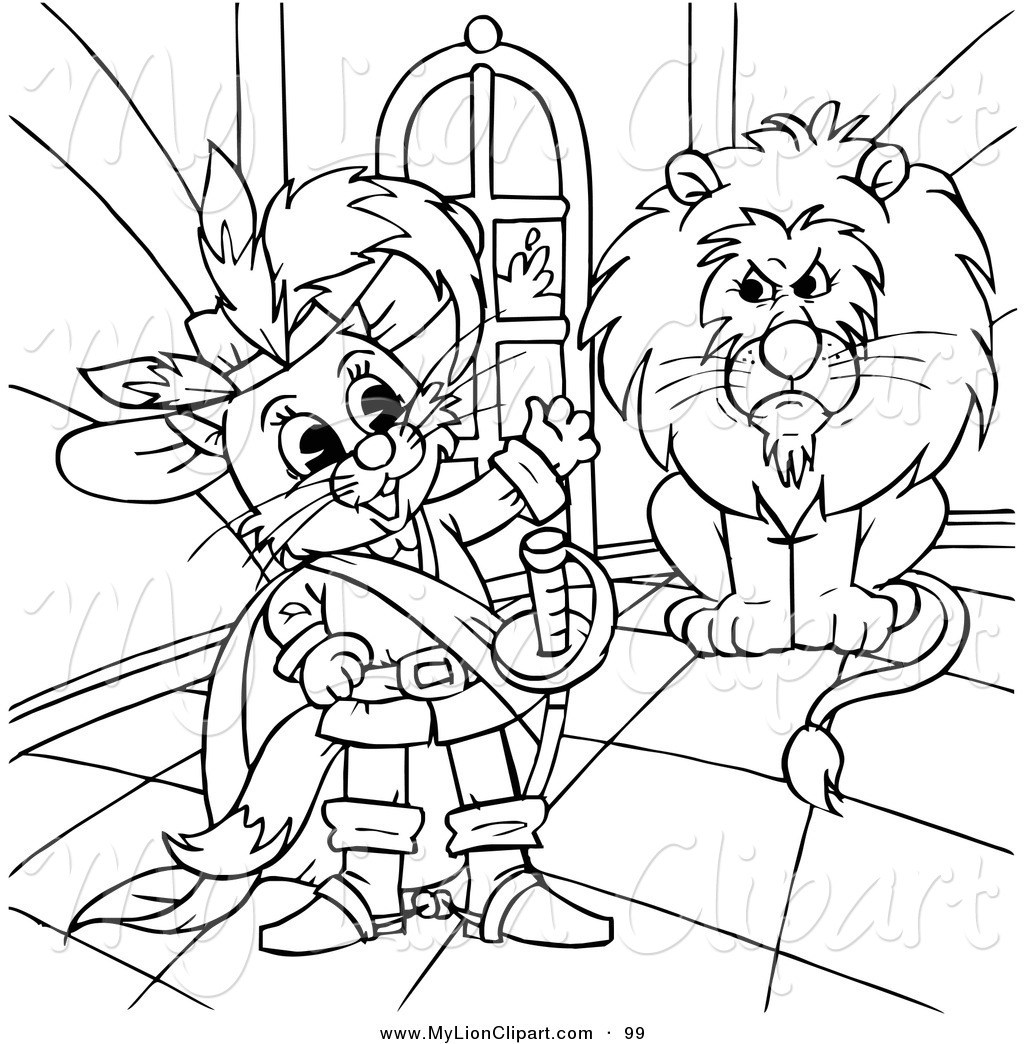 Clipart of a Coloring Page Outline Design of Puss in Boots by a.