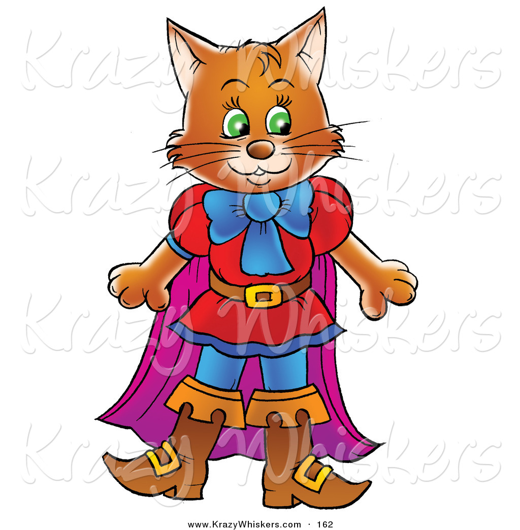 Critter Clipart of a Happy Brown Cat in Clothes and Boots, Puss in.