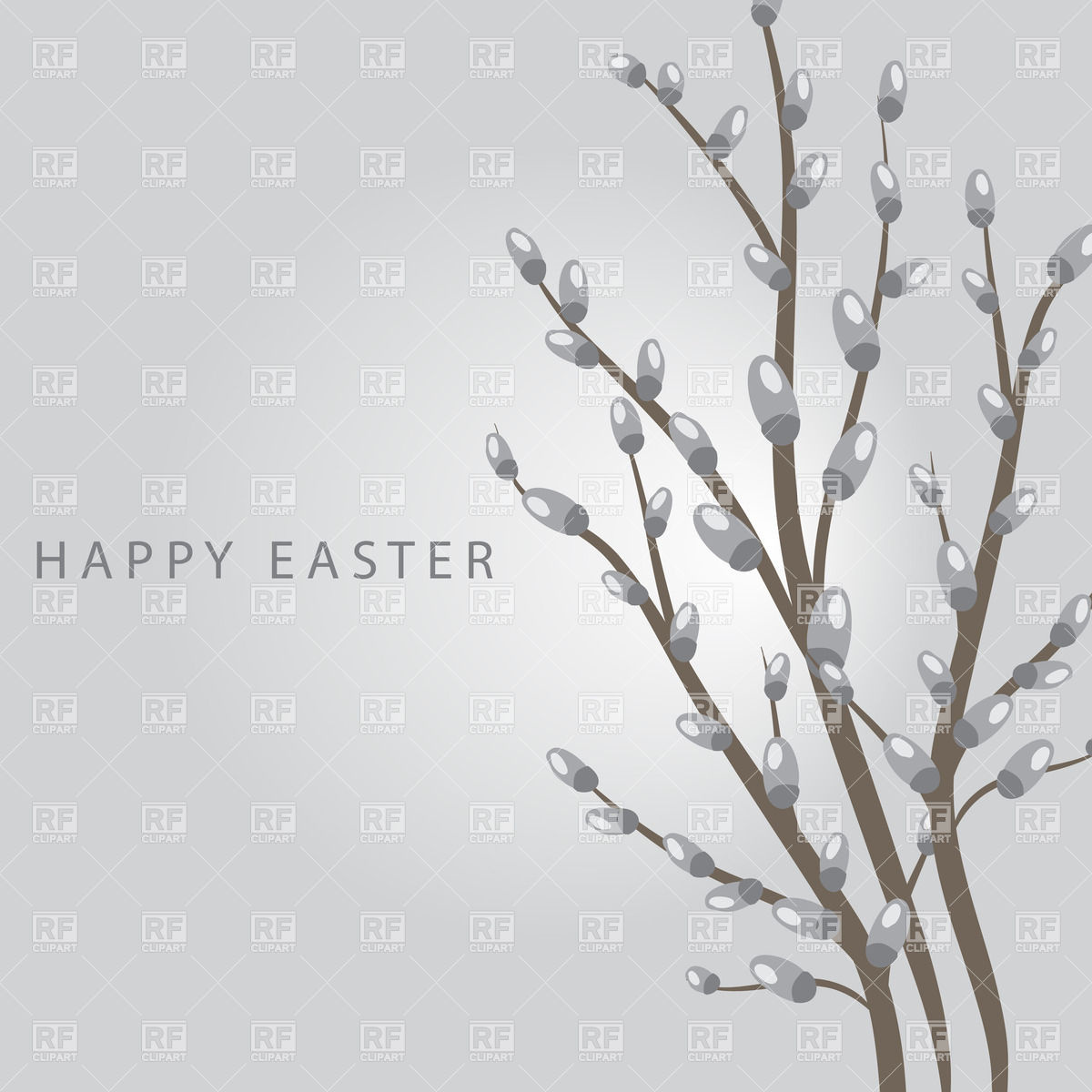 Easter card with pussy willow branch Vector Image #22179.