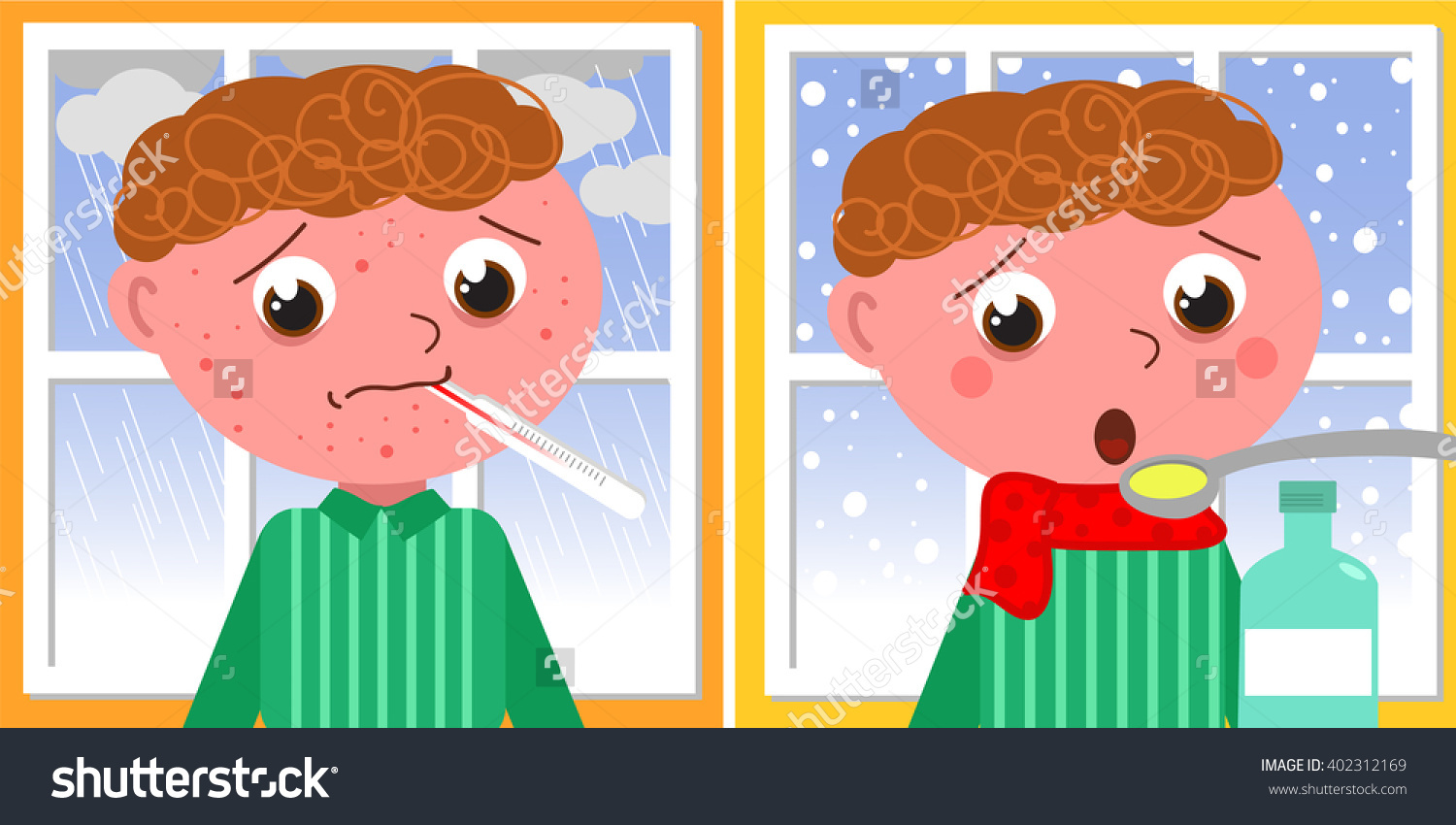 Sad Ill Boy With Red Pustules In Winter With Bad Weather, Vector.