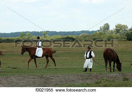 Stock Image of Hungary, Bugac, the Puszta, Csikos horsemen.