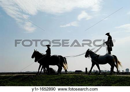 Stock Photography of Hungary, A ?chicos? cowboy giving a riding.