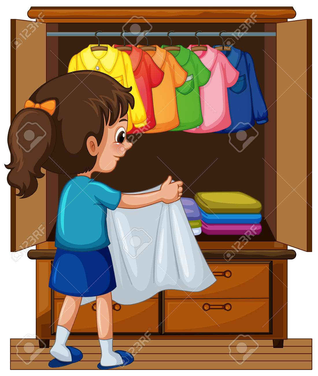 Girl putting away clothes in closet » Clipart Station.