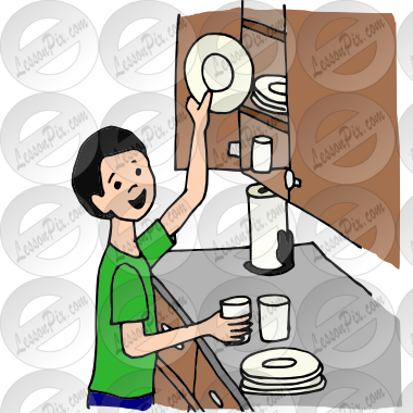 Put Dishes Away Picture for Classroom / Therapy Use.