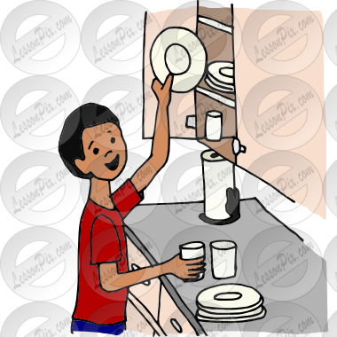 Put Away Dishes Clipart.