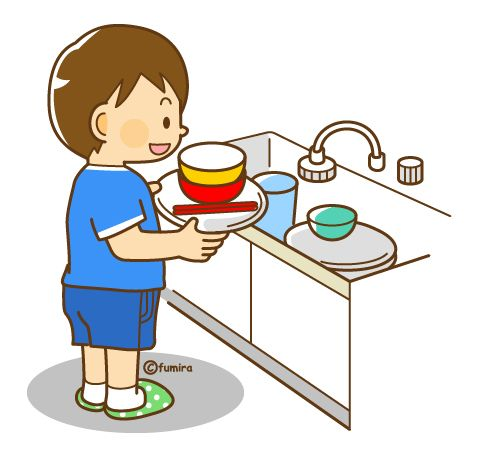 Put Dishes In Sink Clipart.