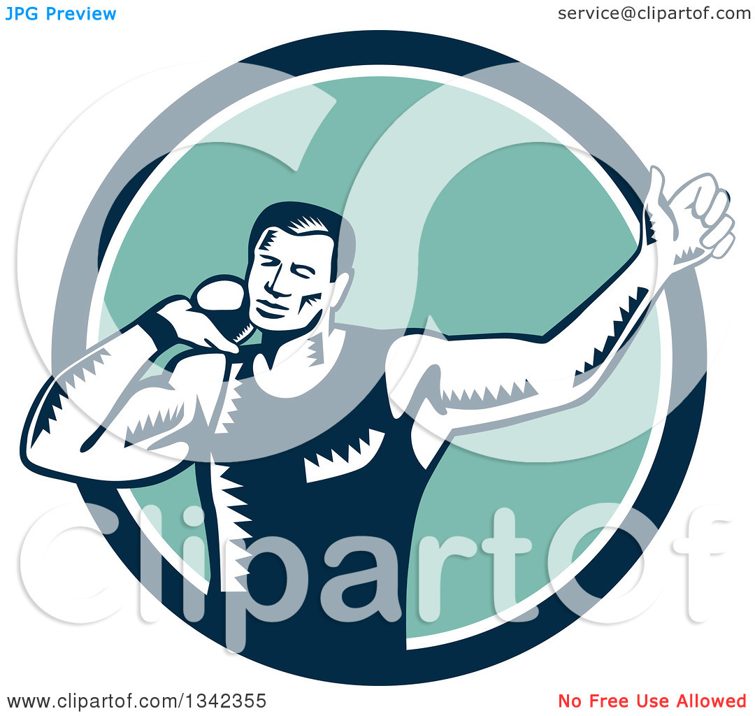 Clipart of a Retro Woodcut Male Shot Put Athlete Throwing in a.