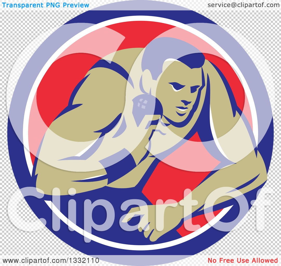 Clipart of a Retro Male Track and Field Shot Put Athlete Throwing.