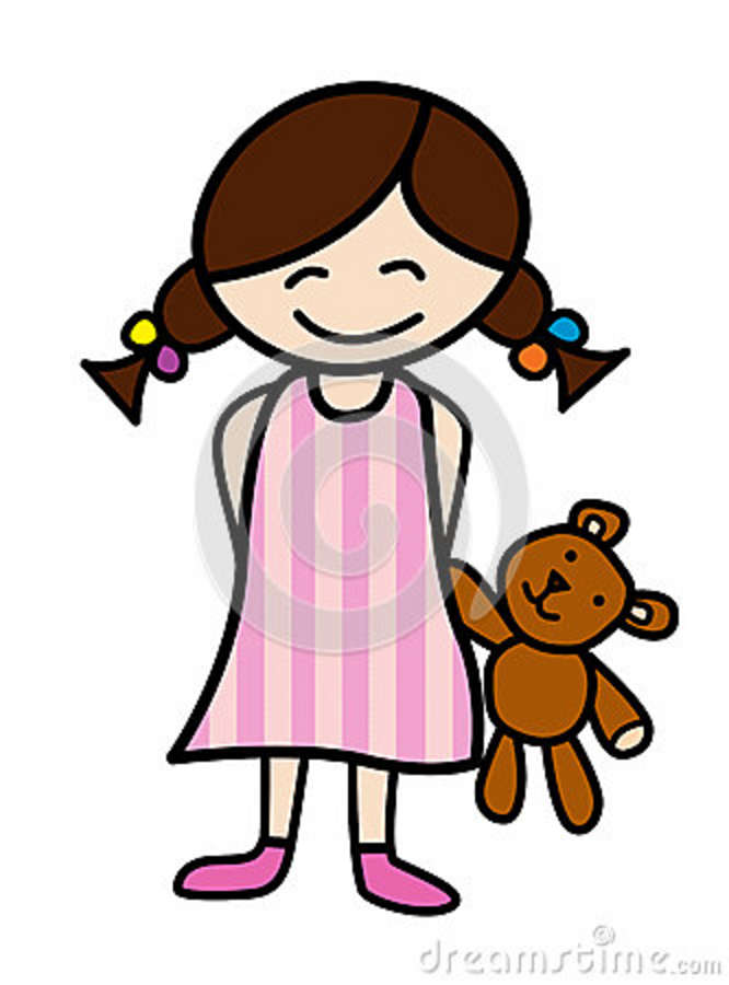 Little girl in blue pajamas clipart.