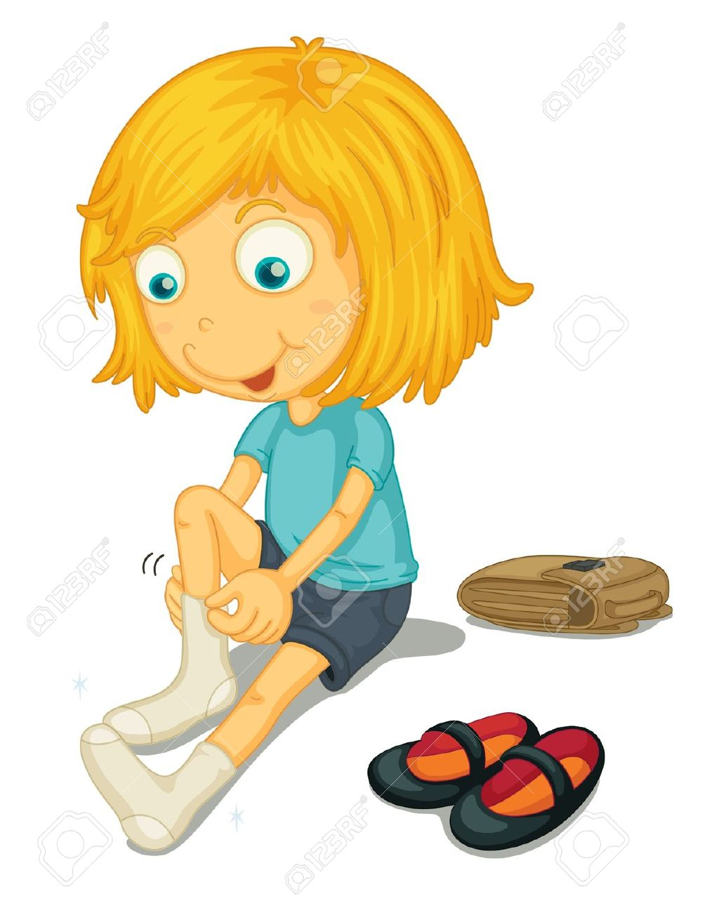 Put on socks and shoes art clipart.
