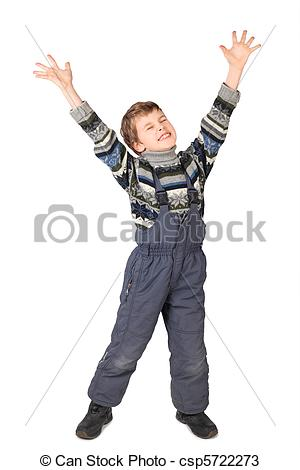 Stock Photography of little boy in big grey man's suit and boots.