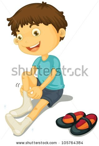 Putting On Shoes Stock Vectors, Images & Vector Art.