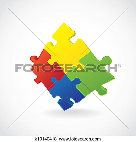 Clip Art of 4 pieces of puzzle put together.
