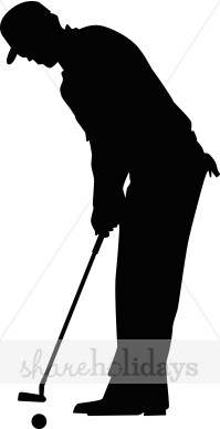Golf Putter Silhouette Clipart.