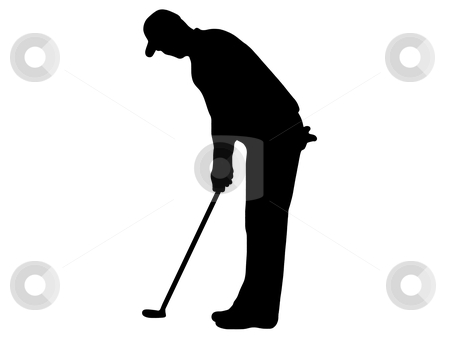 Golfer putting clipart.