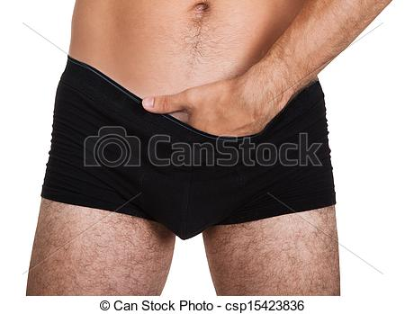 Stock Photos of Man putting hand in underwear.