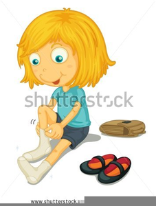 Putting On Shoes Clipart.