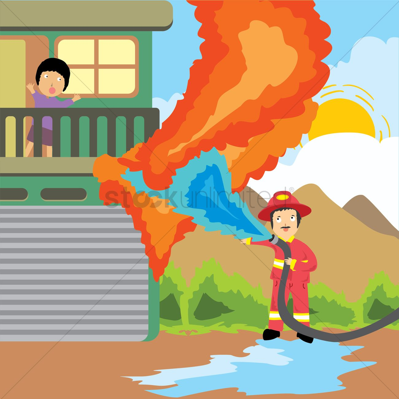 Showing post & media for Cartoon putting out fire with hose.