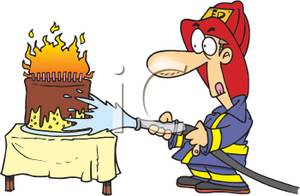Birthday Cake On Fire Clipart.