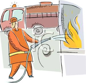Free Clipart Image: A Firefighter Putting Out a Fire.