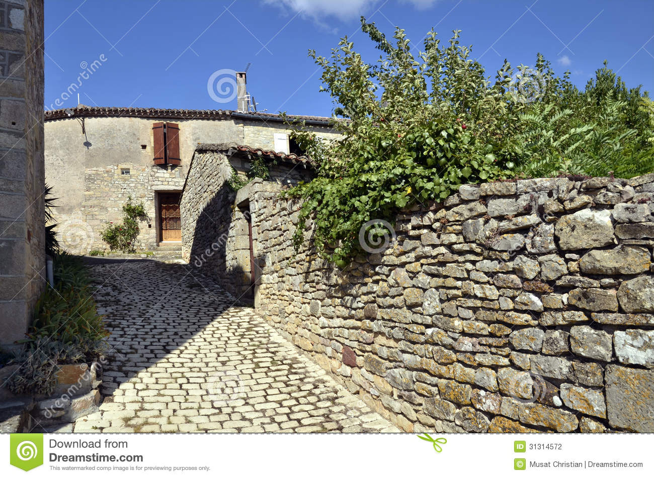 Old Village Of Puycelsi In France Stock Photos.