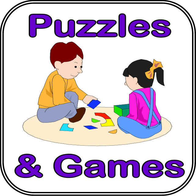 Clipart Of Child Playing With Puzzles Or Game Boards.