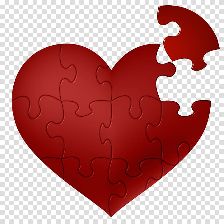 Love Romance, Heart Puzzle transparent background PNG.