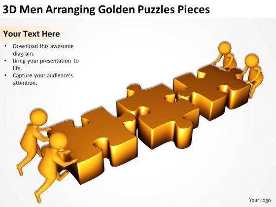 Business People Clipart 3d Men Arranging Golden Puzzles Pieces.